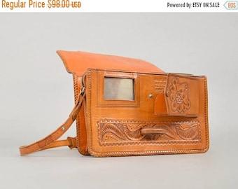 SUMMER SALE 70's Tooled Leather Shoulder Bag