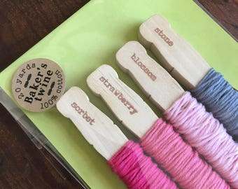 Baker's Twine Kit, bundle of four colors.  20 yards total, 100% cotton twine, made in USA.  Crafting or gift wrap.  Pink solid pack.
