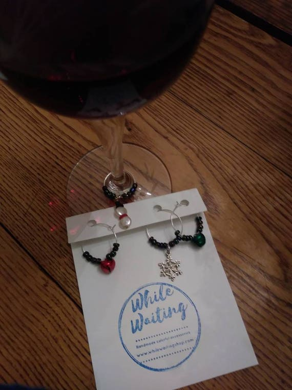 Wine glass charms- festive winter snow set of 4
