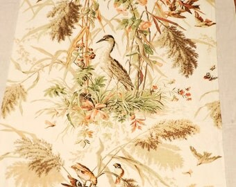 Polished Cotton Chintz Fabric Panel in Birds and Botanicals Print, Home Decor and Craft Fabric; Tans, Greens, Pink on Cream Background