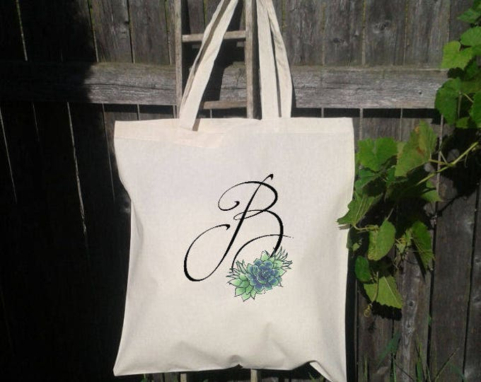 Succulent Bridesmaid Tote Bag, Monogram Tote Bag, Bridesmaid Wedding Welcome Tote Bag, Bridal Party Gift