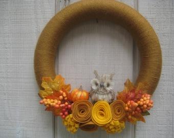 Fall Yarn Wreath//Fall Wreath//Owl Wreath//Felt Flower Wreath//Autumn Wreath