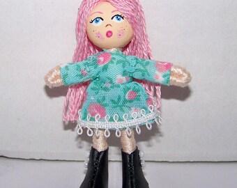 2.5 inch tiny pocket bendy doll, dollhouse doll, miniature doll, ooak doll, handmade doll, hand-painted doll, hand-sewn doll