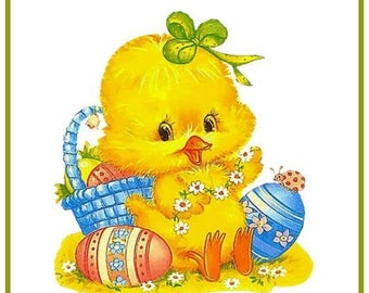GREAT SALE Contemporary Easter Duck with Easter Basket and Eggs Counted Cross Stitch Chart / Pattern