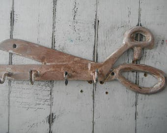 french country aged scissors hook sewing room decor tool hook craft room decor wall hook needle womans hook crafting hook distressed chippy