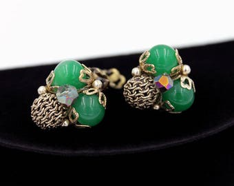 Green Cluster Earrings from Japan, ca. 1950s