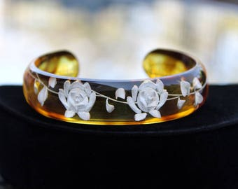 Reverse Carved and Painted Lucite Cuff Bracelet with Rose Design