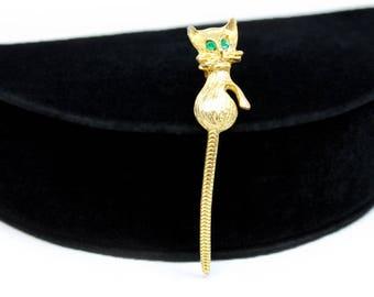 Cat Brooch - Articulated Tail, Green Rhinestone Eyes