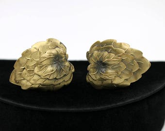 Brass Dress Clips with Layered Leaf Design, 1930s