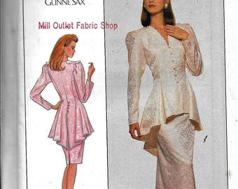 Simplicity 8947 2 Piece Evening DRESS Peplum Slim Skirt Sewing Pattern UNCUT Size 10 Jessica McClintock For Gunne Sax