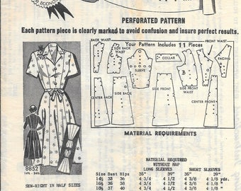 Vintage 1940s / 1950s Mail Order 8852 Dress Sewing Pattern Half Size 16.5 Bust 35