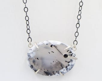Dendritic Opal - Black Spinel - Sterling Silver - Necklace