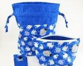 "Knitting Project Bag - New! ""Baa Baa Blue Sheep"" 2 Piece Set (V)"