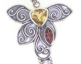 Citrine Garnet White Topaz Pendant 925 Sterling Silver Jewelry E1162PN924