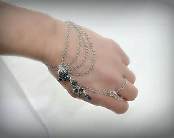 Ring bracelet with silver chain and Hematite (m9a)