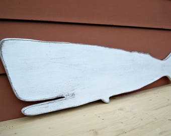large folky wood whale wall art