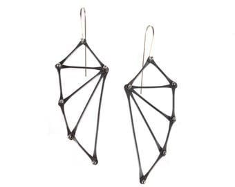 Oxidized Bat wing Earrings