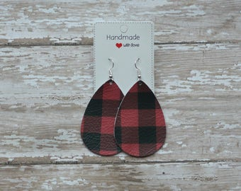Buffalo Plaid Red Black Leather Teardrop Drop Earrings