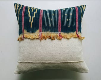 Vintage Baule Pillow Cover - Blue Bohemian Pillow - Modern Bohemian Boho Pillows
