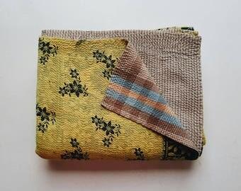 Citrine Yellow Kantha Quilt - Bohemian Bedding - Boho Blanket