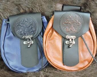 In Stock XLarge Economy Sporran Design Leather Belt Bag / Pouch Medieval, Bushcraft, Costume, Ren Faire, Celtic Horse