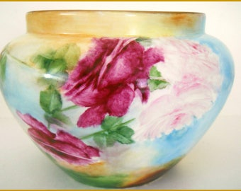 Antique Hand Painted Porcelain Jardiniere/Planter ~ Pink, Magenta & Yellow Roses