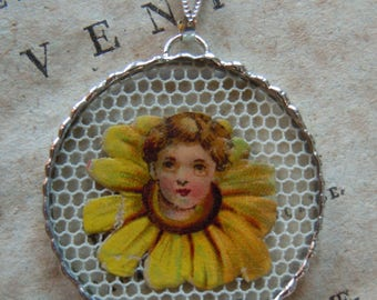 Fiona & The Fig - Victorian Die Cut Scrap - Girl in a Yellow Daisy - Charm -  Necklace - Pendant - Jewelry