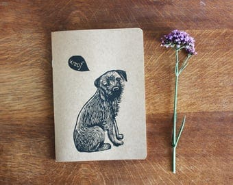 border terrier linocut, eco sketchbook, A5 Recycled Notebook, Plain White Pages, Hand Printed Linocut, Printmaking, Natural