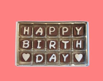 ship AFTER 8/7 Birthday Gift for Him Her Best Friend Boss Girlfriend Boyfriend Gift Happy Birthday Cubic Chocolate Letters Long Distance Cut