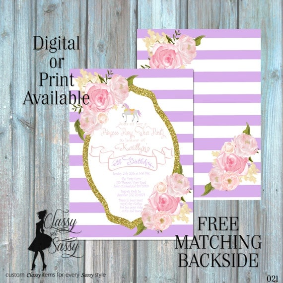 Princess Pony Birthday Party Invitation, Pony Party, Purple Glitter Party Invitation, DIY Print Party Invitation, Tween Birthday invite 021