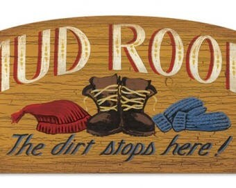 "Mud Room vintage style metal sign the dirt stops here laundry room home decor approx.12"" x 21"""