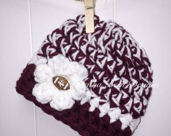 Texas A&M inspired baby hat  - NCAA football hat - photo prop - newborn  size - ready to ship