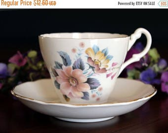 ON SALE Floral Teacup, Tea Cup and Saucer, Royal Ascot. English Bone China Pink Floral Motif 13769