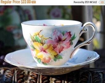 ON SALE Vintage Teacup, Tea Cup and Saucer - Royal Standard Azalea -  Footed Set 11868