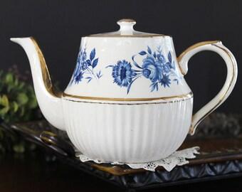 Vintage Arthur Wood Tea Pot, 4 Cup Blue Roses Teapot, 13987