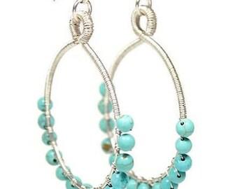 Handmade Turquoise Hoop Earring, Medium Round Blue, Boho Wire Wrapped Jewellry, Chalk Turquoise Earring