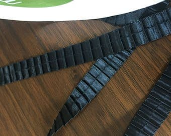 Beautiful Pleated Black Ribbon Trim, Sold by the Yard