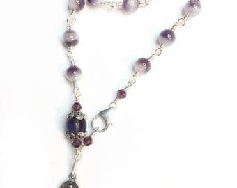 Sage Amethyst One Decade Rosary Bracelet with Miraculous Medal, Hand Wrapped, Catholic Womans Bracelet
