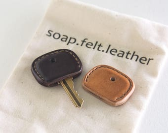 Leather Key Cover, Key Topper, Key Cap all Handmade Single or Pair (Key not included)