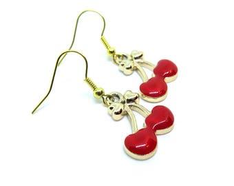 Red Cherries Gold Dangle Earrings