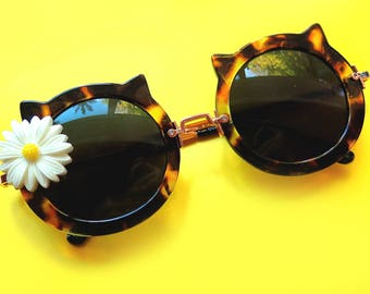 Cat Ear Leopard Print SUNGLASSES with White/Yellow Daisy Embellishment