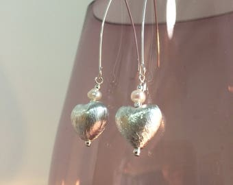 Silver and Ivory Fresh Water Pearl earrings Sterling Silver Heart UK made
