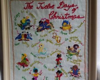 Twelve Days of Christmas Needle Work Art