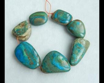 Blue Opal Gemstone Pendant Bead Set,1 Strand,19cm In The Length,33x21x9mm,22x17x8mm,47.4g(f0422)