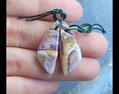 Purple Lace Agate Earring Bead,25x10x4mm,3.57g(E389)