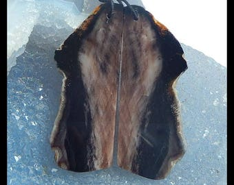 New,Nugget Wood Fossil Earring Beads,48x18x3mm,7.9g