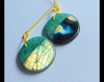 Natural  amazonite labradorite Earring pairs Jewelry Gift Gem Customized Gemstone Beads Fashion Earrings 21x4mm 6g(E582)