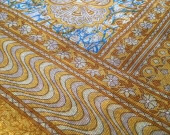 Sari Gold Ethnic India Fabric 7 Yards
