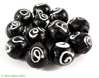 12 Zen Venetian Trade Beads Black and White Loose Africa 108252