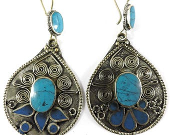 Earrings Silver Turquoise Insets Afghanistan 109448